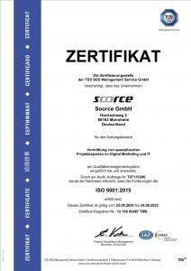 Soorce ISO 9001 TUEV Zertifikat